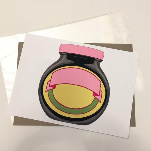 Bird Modern Vintage-A4 Pink Marmite  Unframed Print