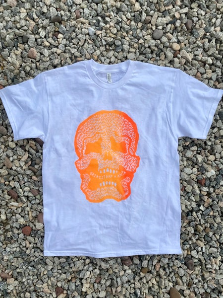 Image of Orange Poison Skull White Tee
