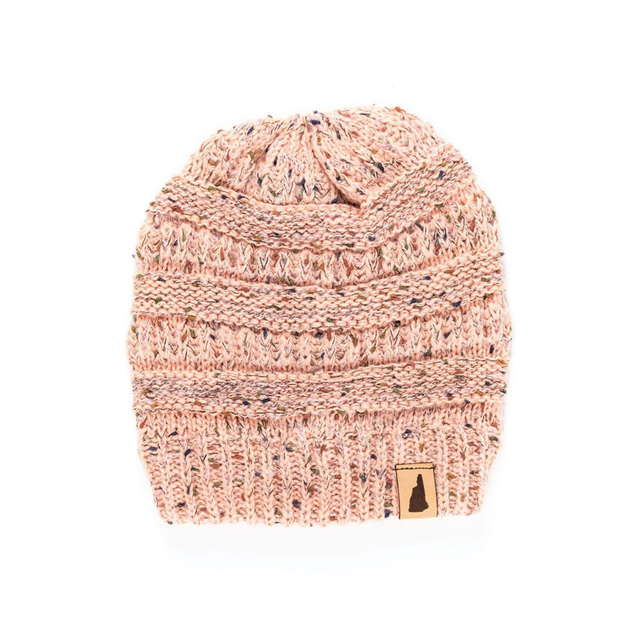 Image of Speckled Knit Beanie- Coral