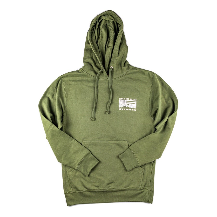 Image of NH Mountains & USA Flag Hoodie- Military Green