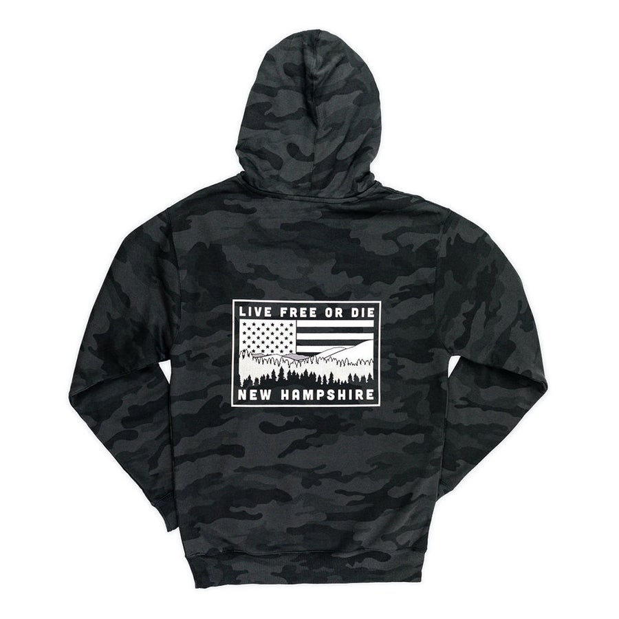 Image of NH Mountains & USA Flag Hoodie- Black Camo