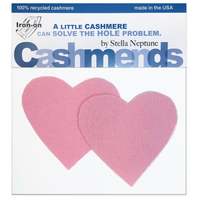 Image of Iron-On Cashmere Elbow Patches - Classic Pink Hearts