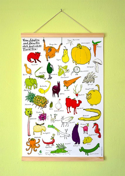 Image of NEU! Gemüsetiere   Kleines Poster   DIN A2+ mit Posterleisten