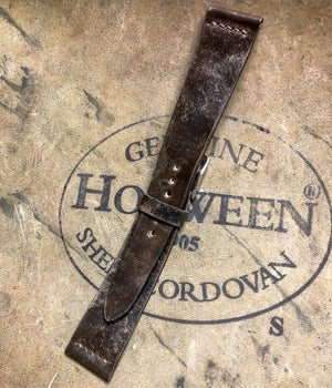 Image of Unlined Antiqued Shell Cordovan watch strap - Dark Cognac unlined