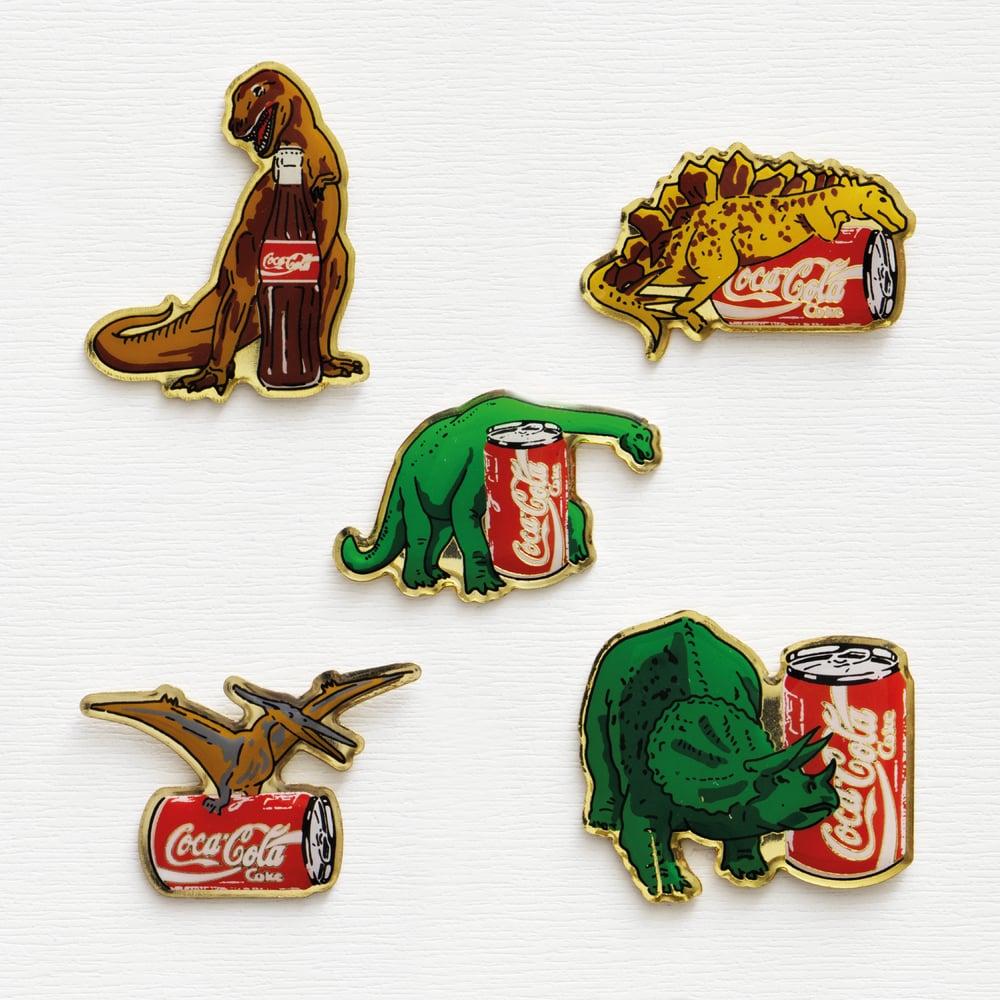 Image of Vintage Dinosaurs Coca Cola Promo Enamel Pins Set