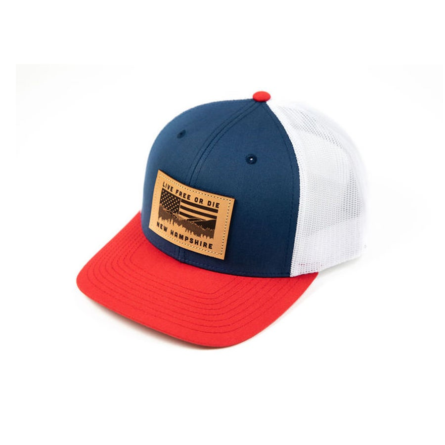 Image of NH Flag & Mountain Cap- Navy/Red/White Mesh