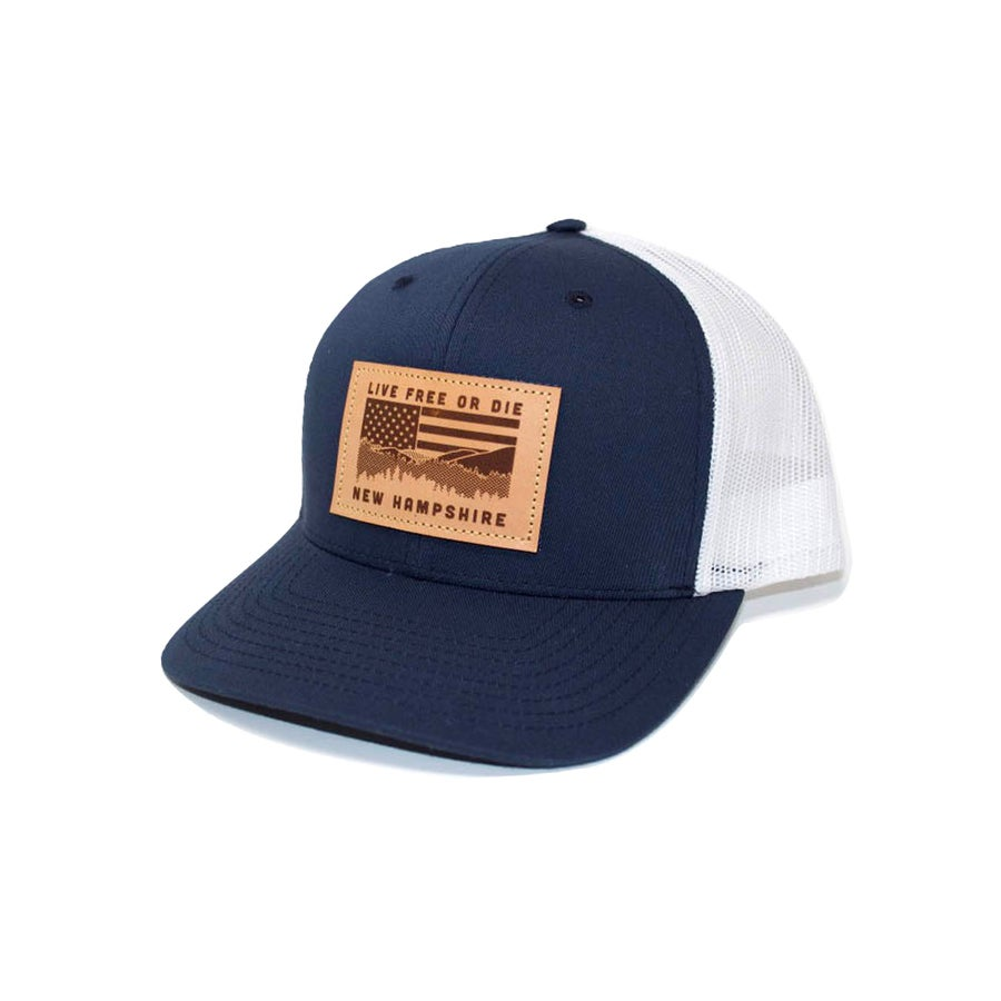 Image of NH Flag & Mountain Cap- Navy/White Mesh