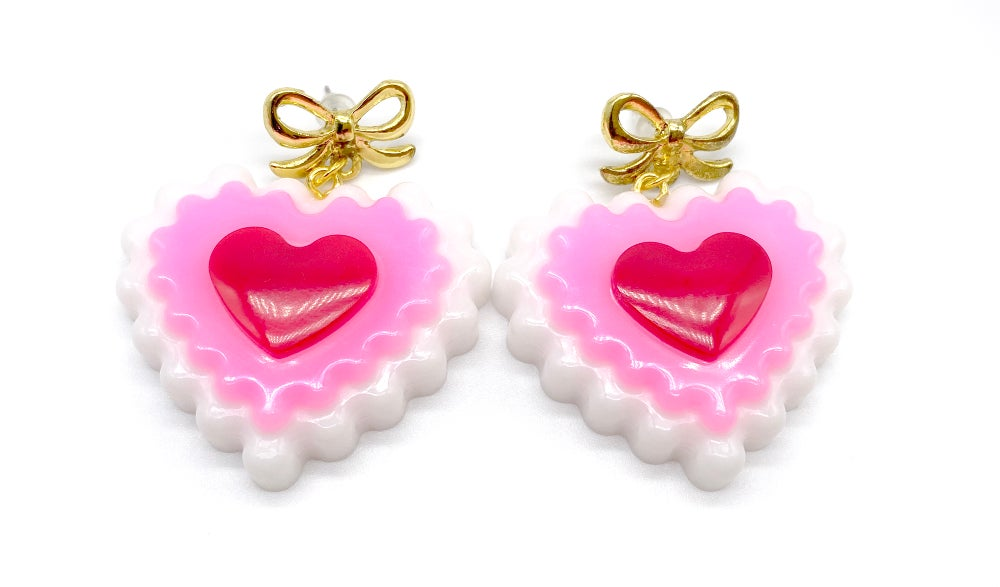 Image of Valentines Heart Love Bow earrings