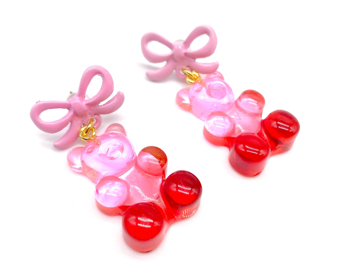 Image of  Valentines Ombre Large Gummy Bear Earrings
