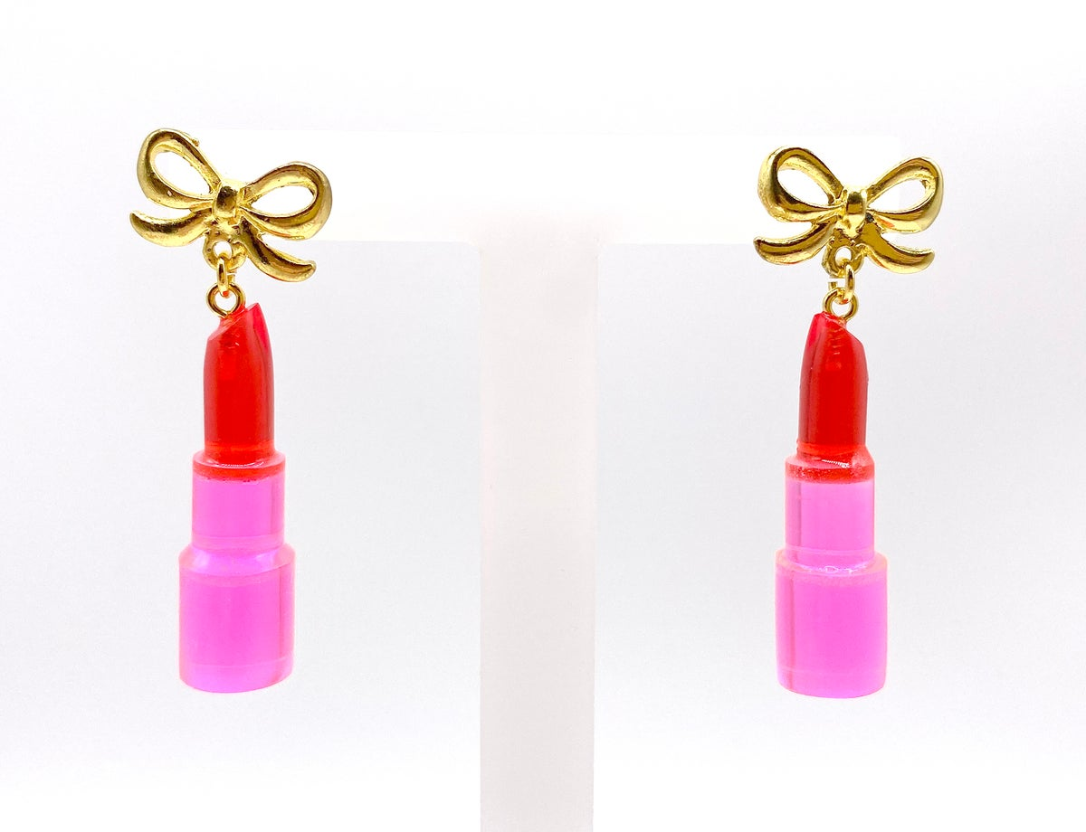 Image of Valentines Pink Crystal Lipstick Statement earrings