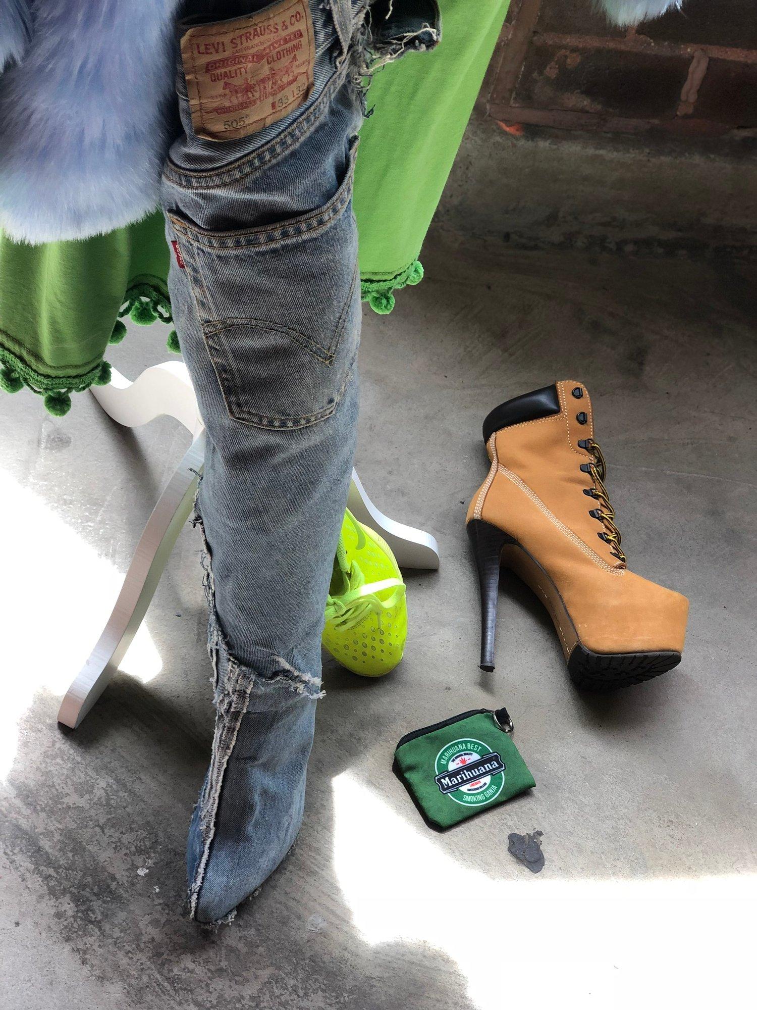 Image of Custom Distressed Denim Boot