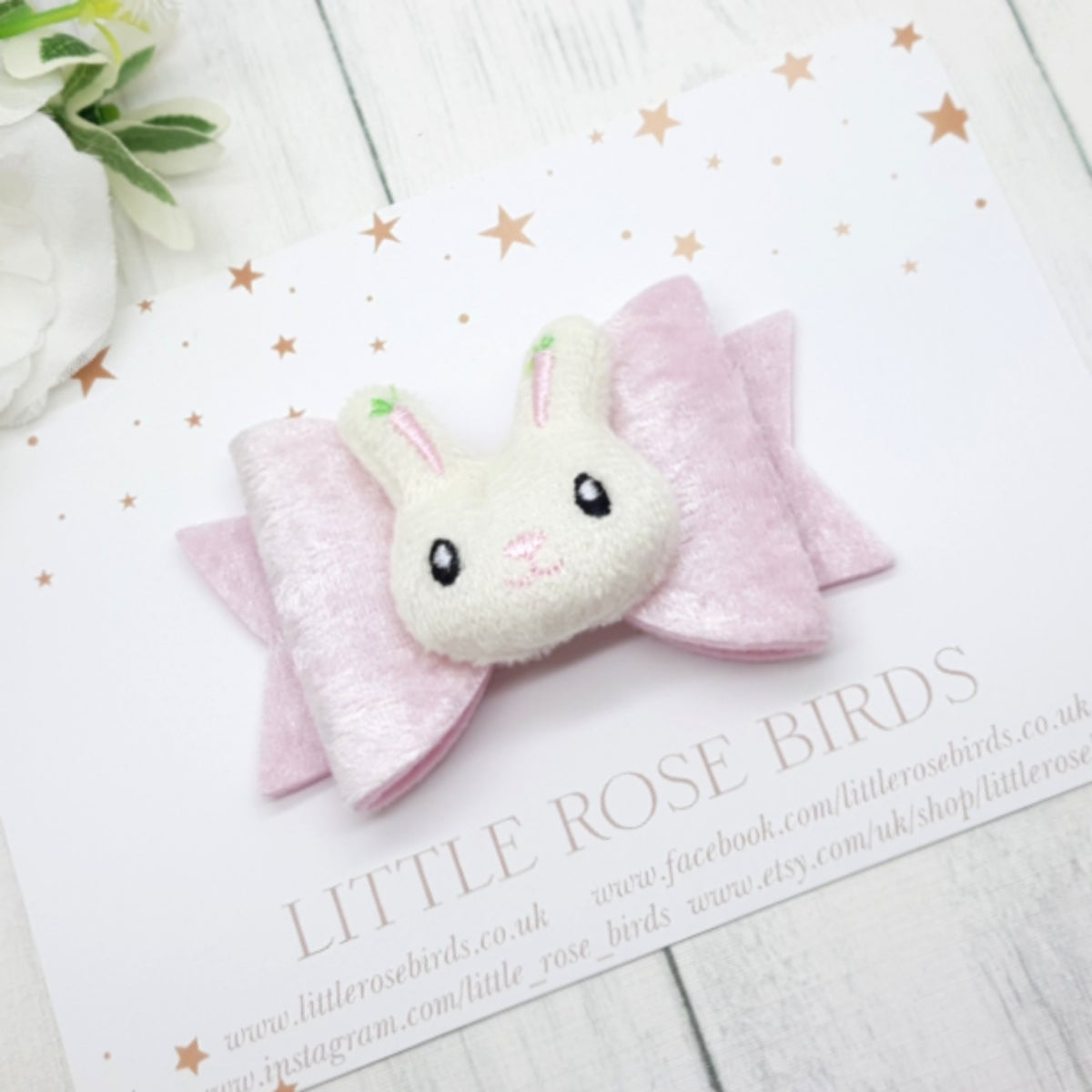 Image of Pink Velvet with Cute Bunny Bow