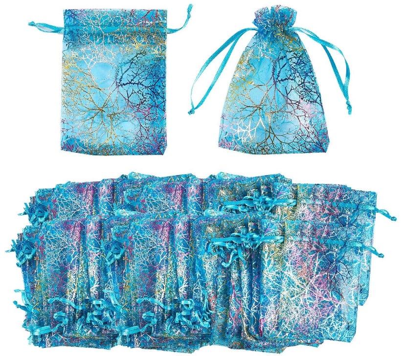 Image of Blue Coral Satin Drawstring Mesh bags