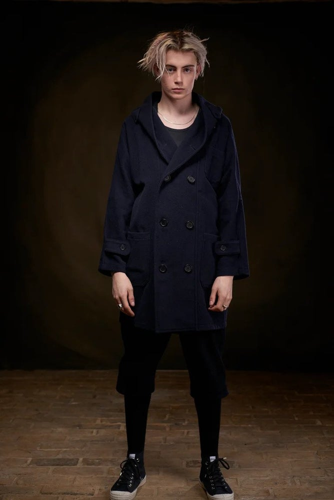 Image of Fisherman Long wool Unisex Coat in Navy