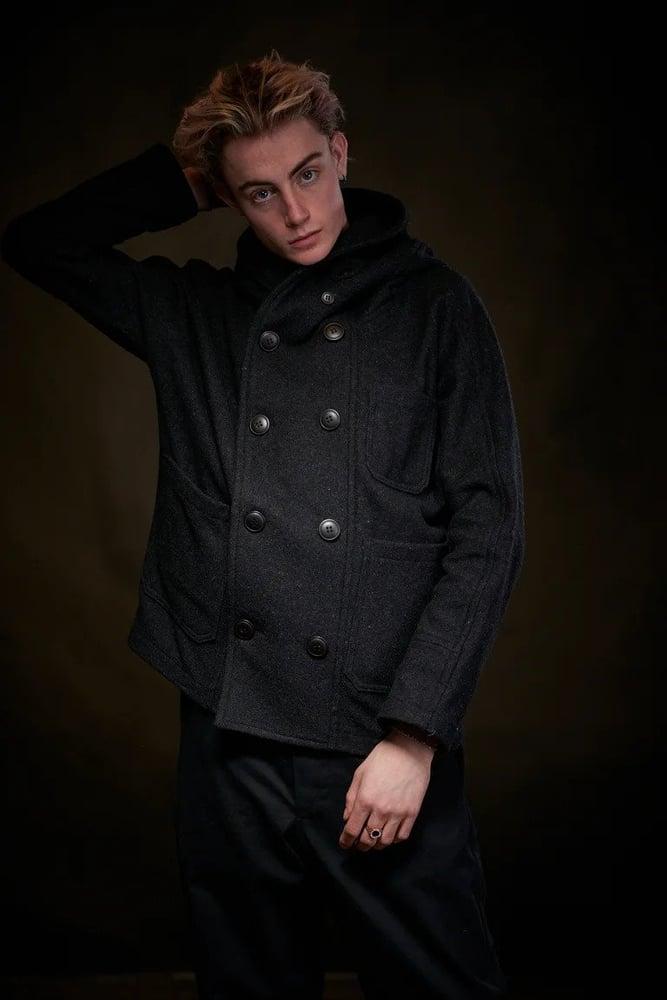 Image of Fisherman Short wool Unisex Coat in Charcoal