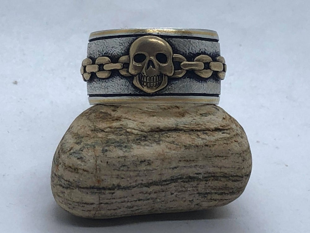 Image of Brass Skull and Chain Silver Ring (Handmade and Handcarved)
