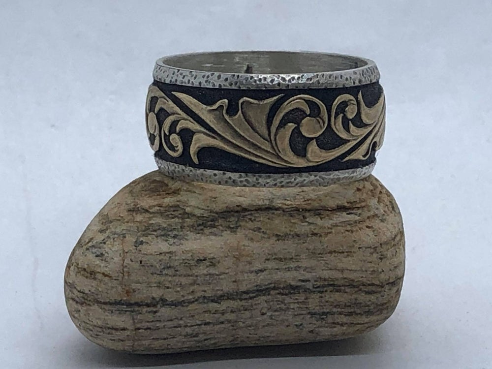 Image of Silver Ring w/ Carved Brass Filigree (Handmade & Handcarved)