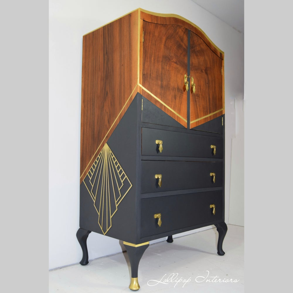 Image of Grey/gold cocktail cabinet/linen cupboard