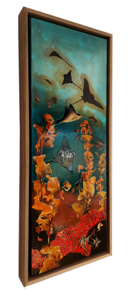 Image of Original Canvas - Spotted Eagle Rays with Kelp and Coral - 30cm x 80cm
