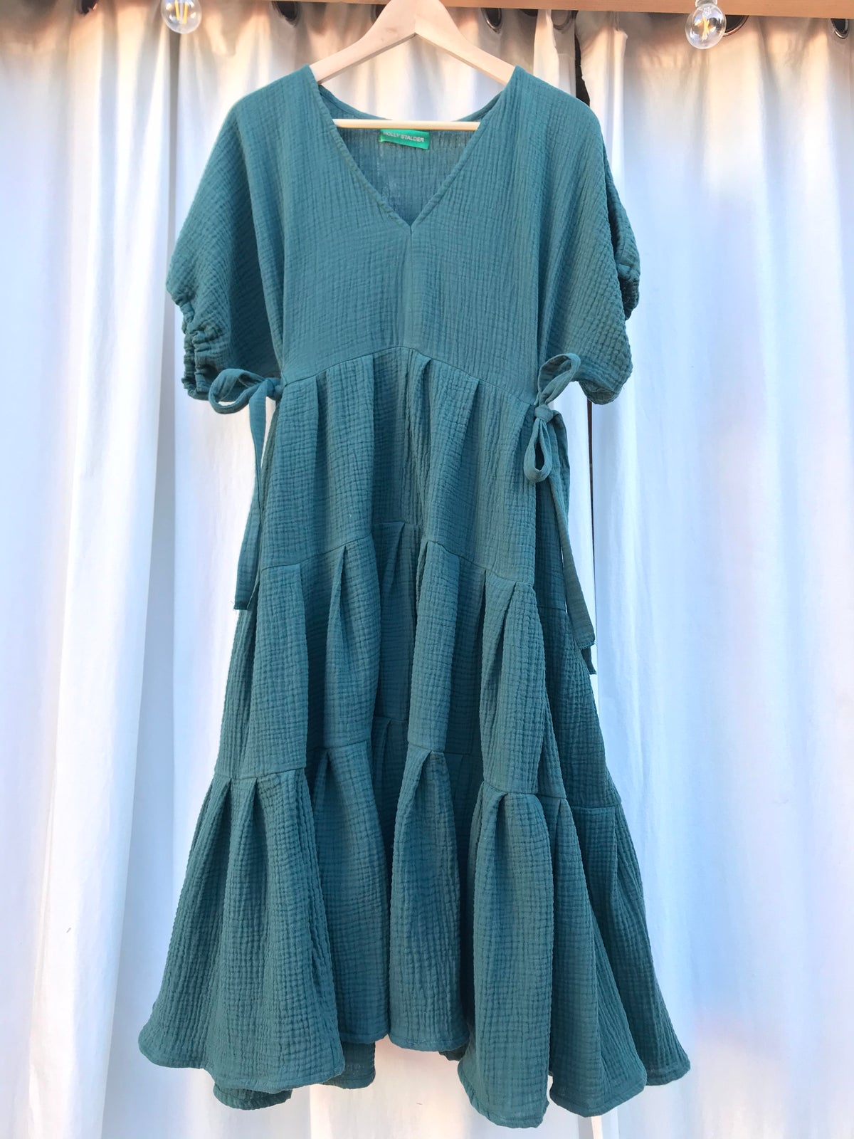 Image of Forest Green Gauze Tie Side Dress