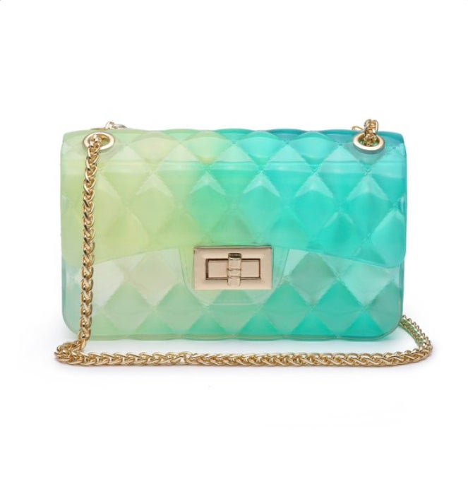 Image of Green, Blue, & Yellow Gradient Jelly Purse