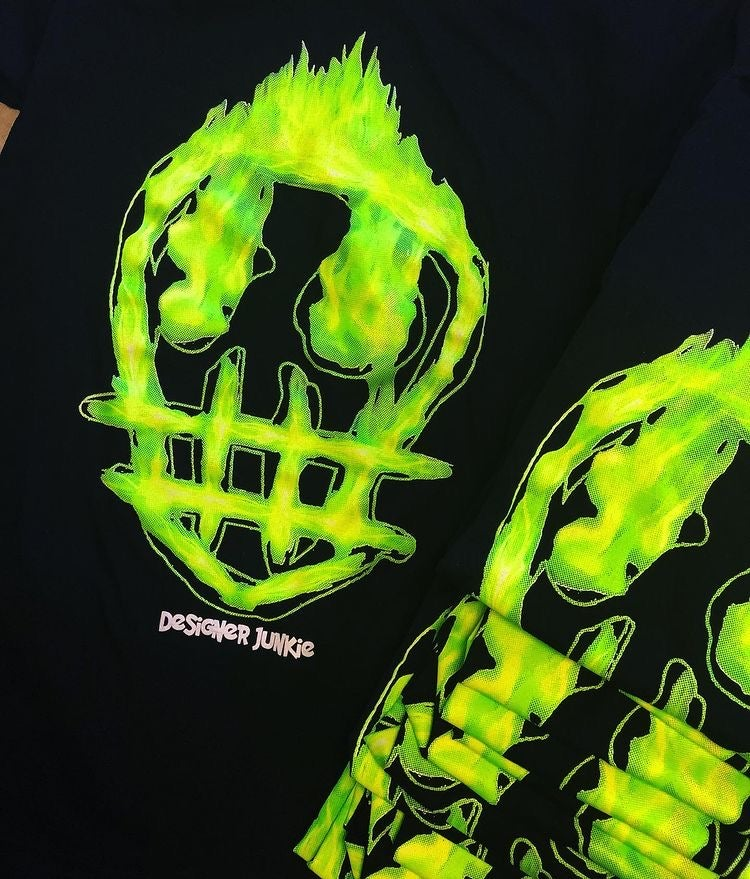 Image of Neon Green Flaming Junkie Tee