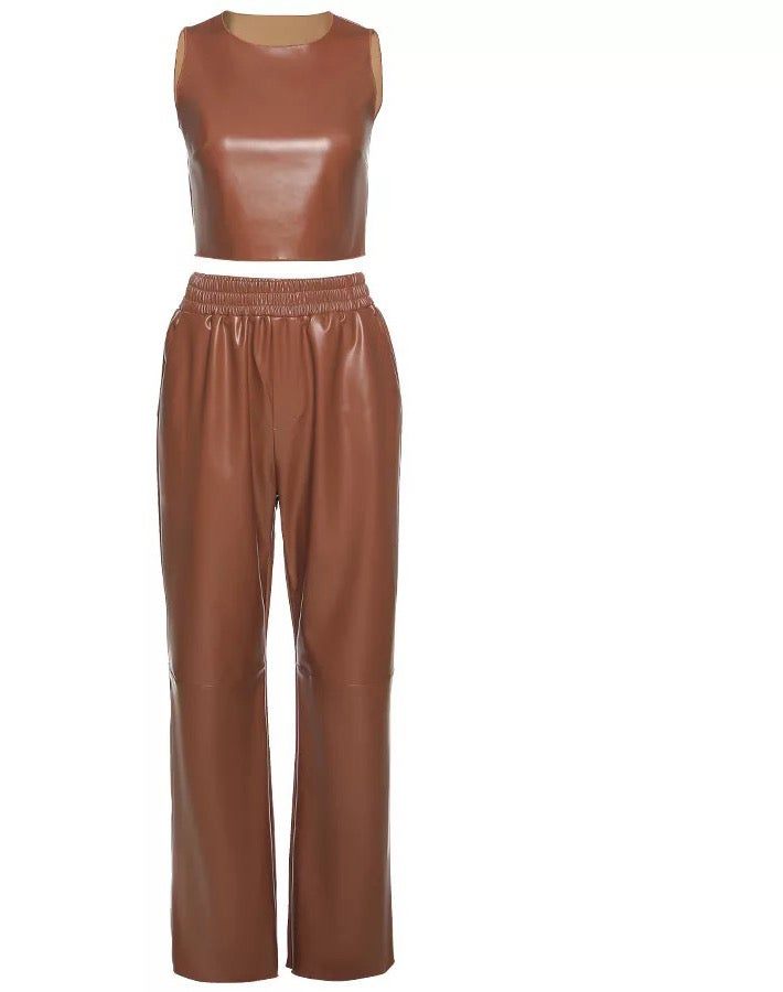 "Image of ""Butta"" Vegan Leather Pant Set"
