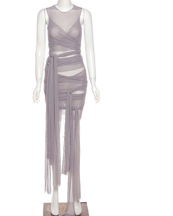 """Image of """"Ribbons"""" Mesh Mini Dress"""