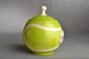 Image of Tennis Ball Dog Treat Jar Urn by Symmetrical Pottery
