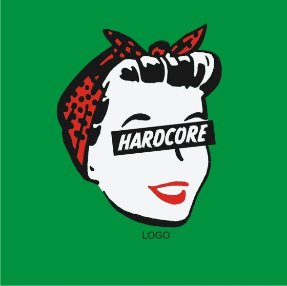Image of Hard Core Retro Femme - Ladies Green T-Shirt