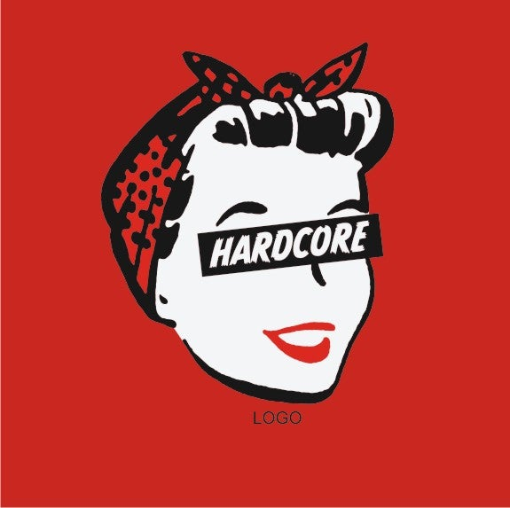 Image of Hard Core Retro Femme - Ladies Red T-Shirt