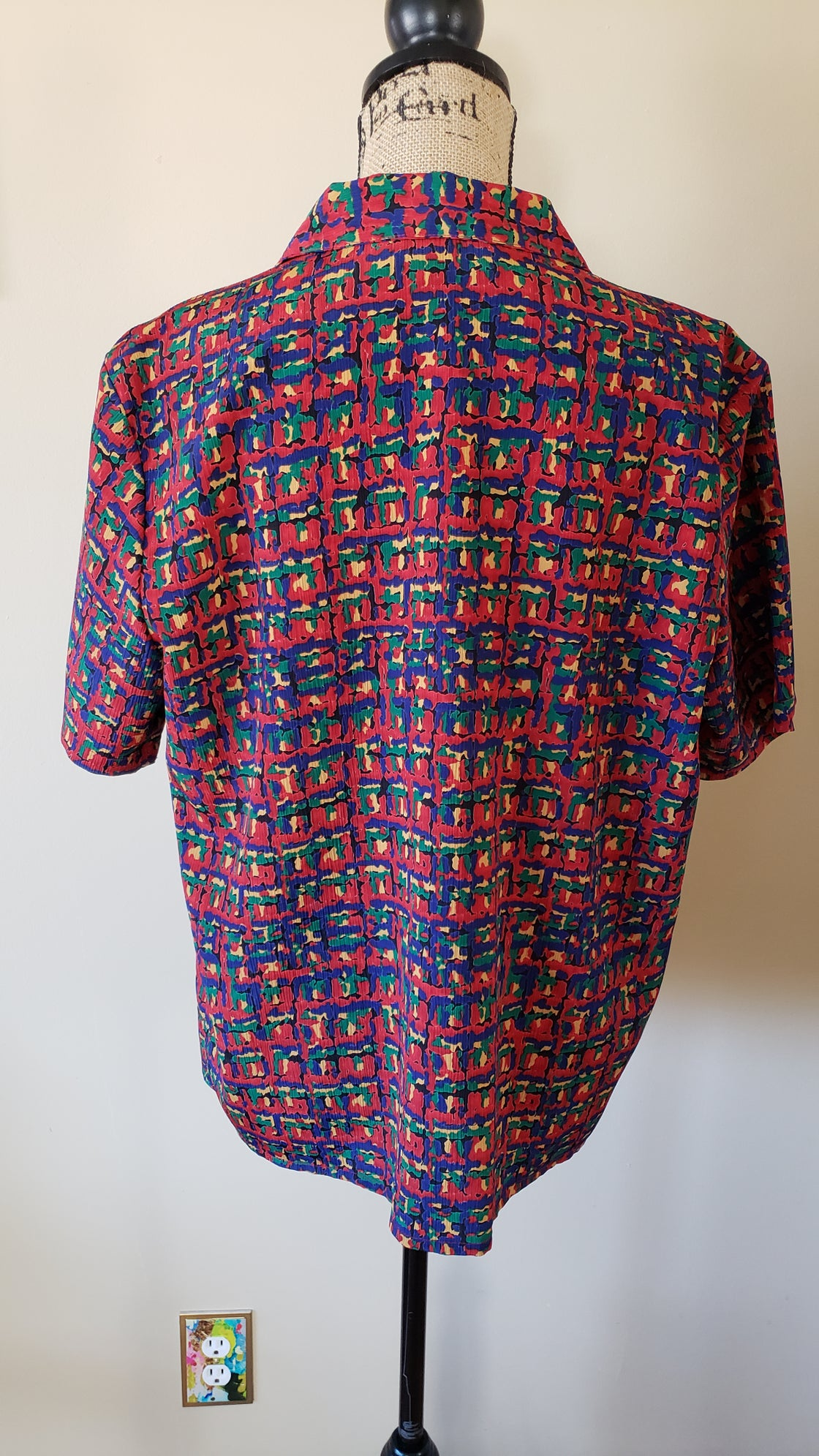 Image of Puzzle Print Short Sleeve Button Up