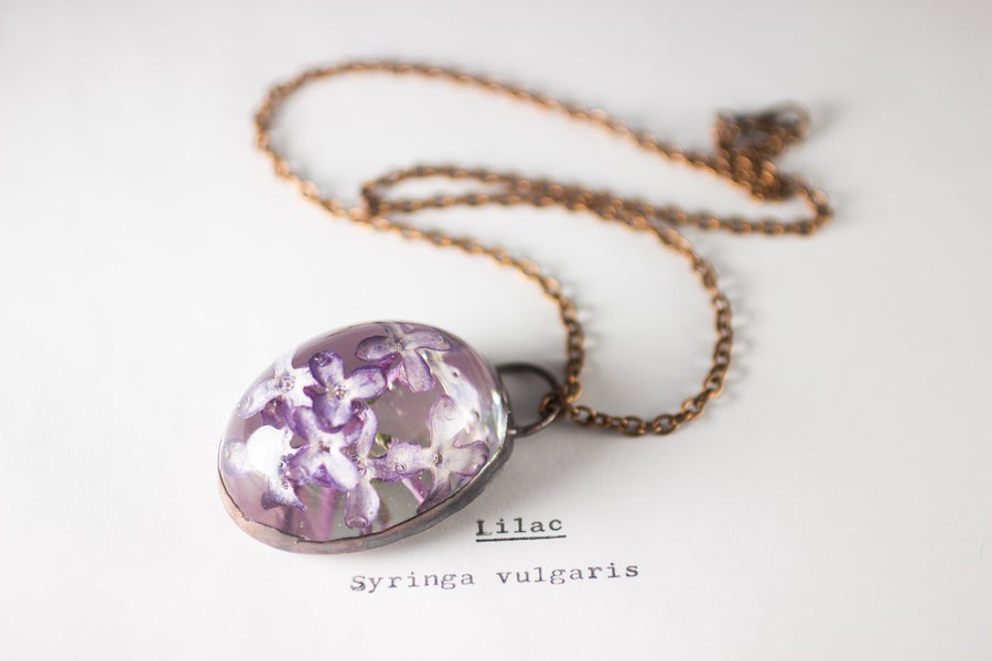 Image of Lilac (Syringa vulgaris) - Copper Plated Necklace #5