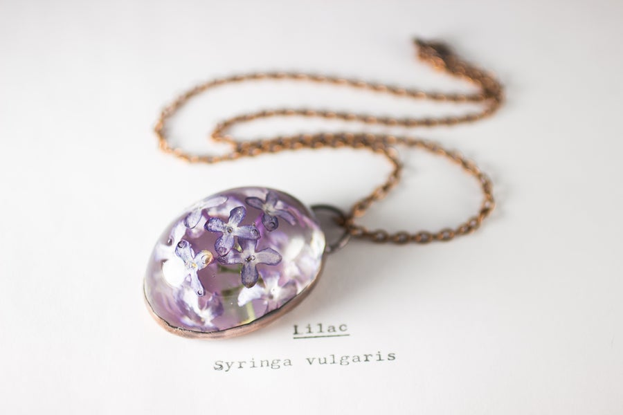 Image of Lilac (Syringa vulgaris) - Copper Plated Necklace #6