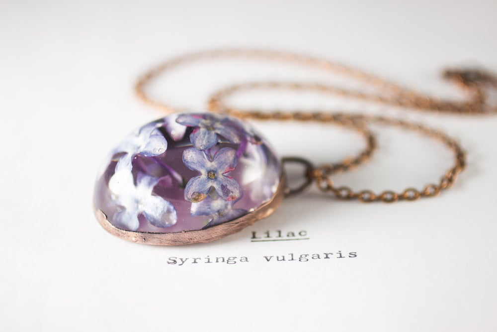 Image of Lilac (Syringa vulgaris) - Copper Plated Necklace #8