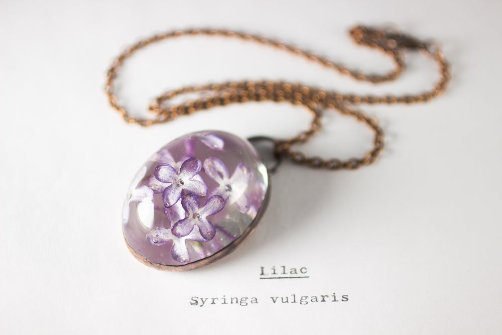 Image of Lilac (Syringa vulgaris) - Copper Plated Necklace #3