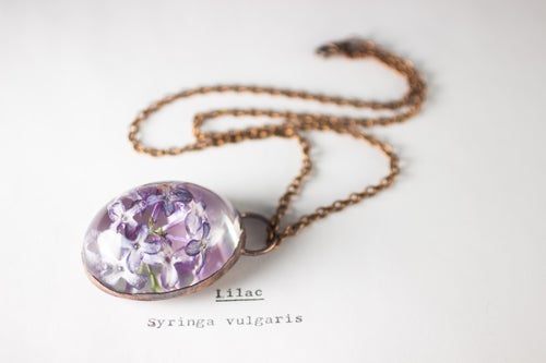 Image of Lilac (Syringa vulgaris) - Copper Plated Necklace #1