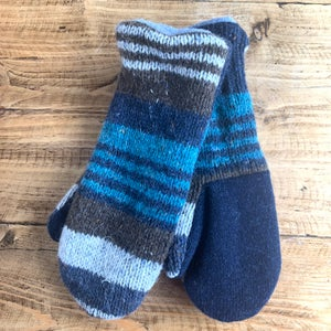 Image of Upcycled mittens multi stripe