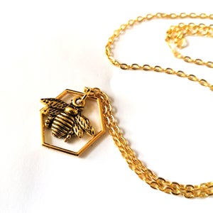 Image of Golden Mini Bumblebee Hive Necklace