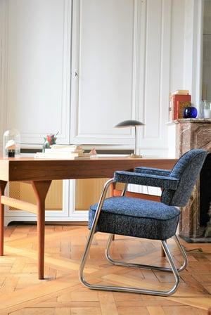 Image of Fauteuils chromés bouclette bleu et ivoire