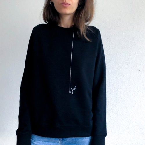 Image of SLOW - hand embroidered organic cotton sweatshirt, available in ALL sizes