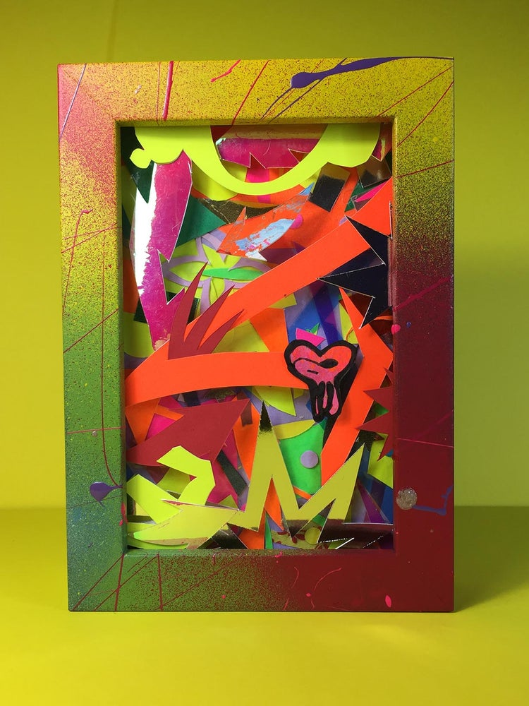Image of DEEP-EDGED FRAMED COLLAGE. 4 OF 4.