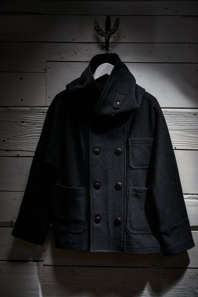 Image of Fisherman Short wool Unisex Coat in Black £330.00
