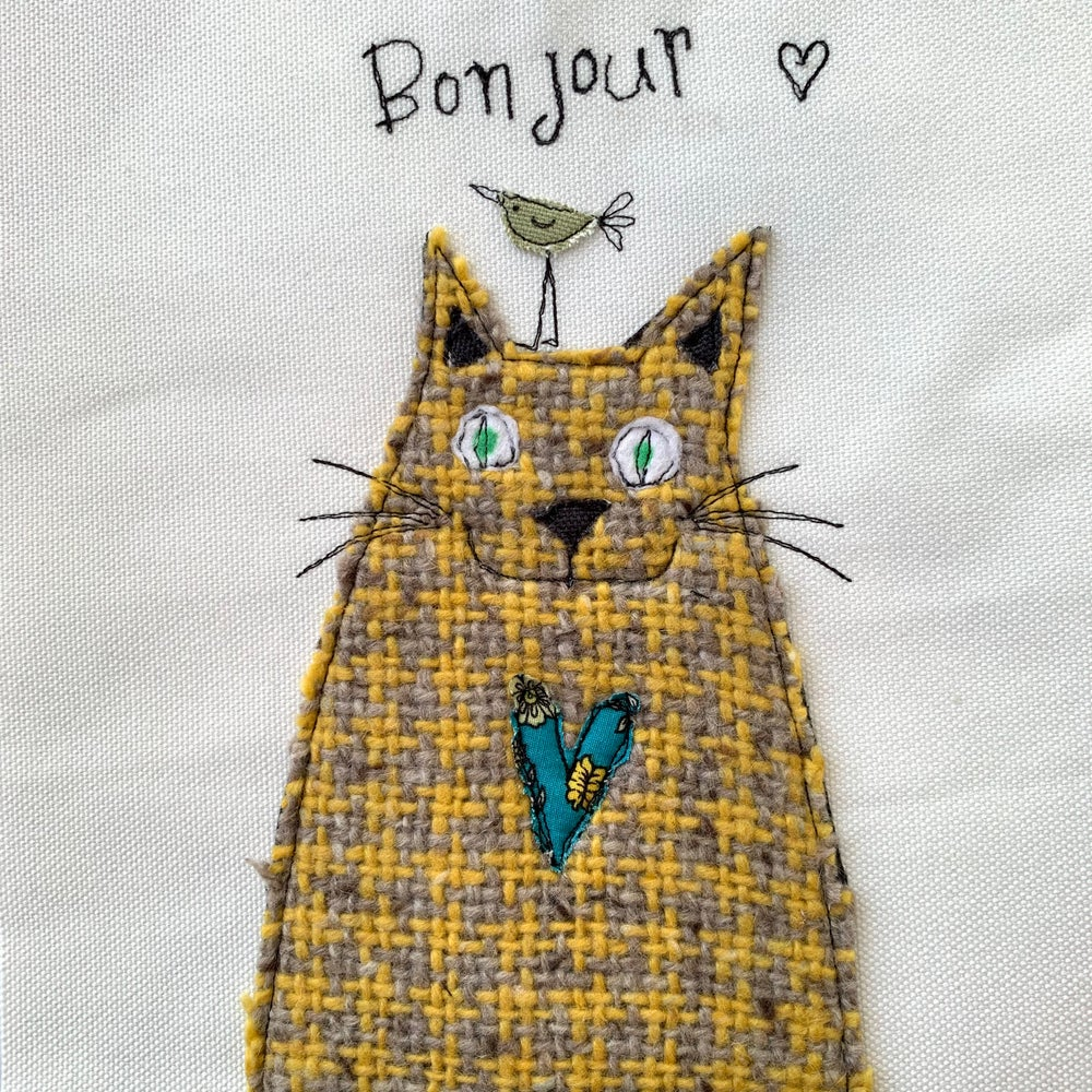 Image of Love Cats -Bonjour with bird  original artwork