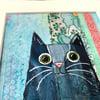 Love cats- painted mixed media original