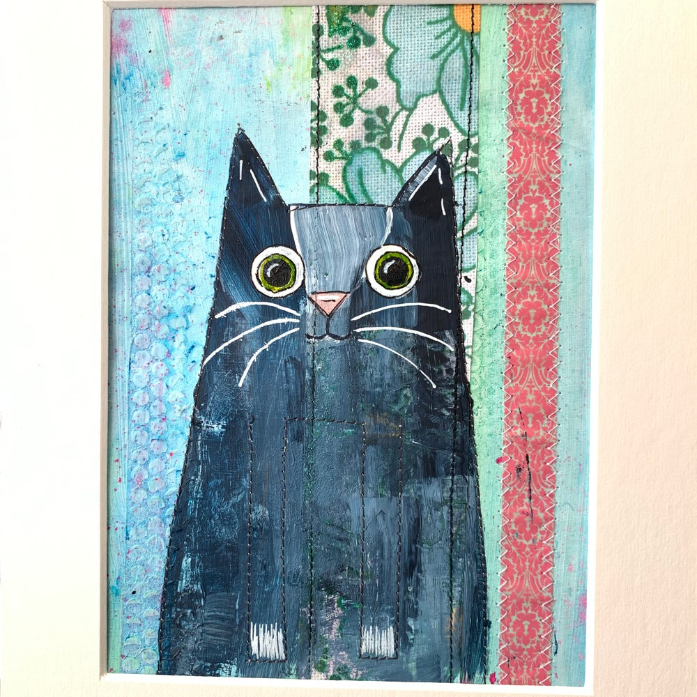 Image of Love cats- painted mixed media original