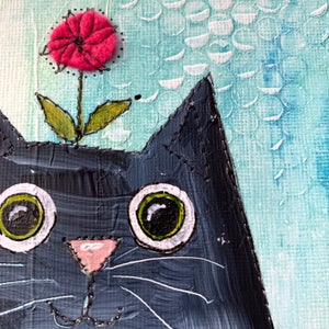Image of Love Cats mixed media original red flower