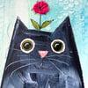 Love Cats mixed media original red flower