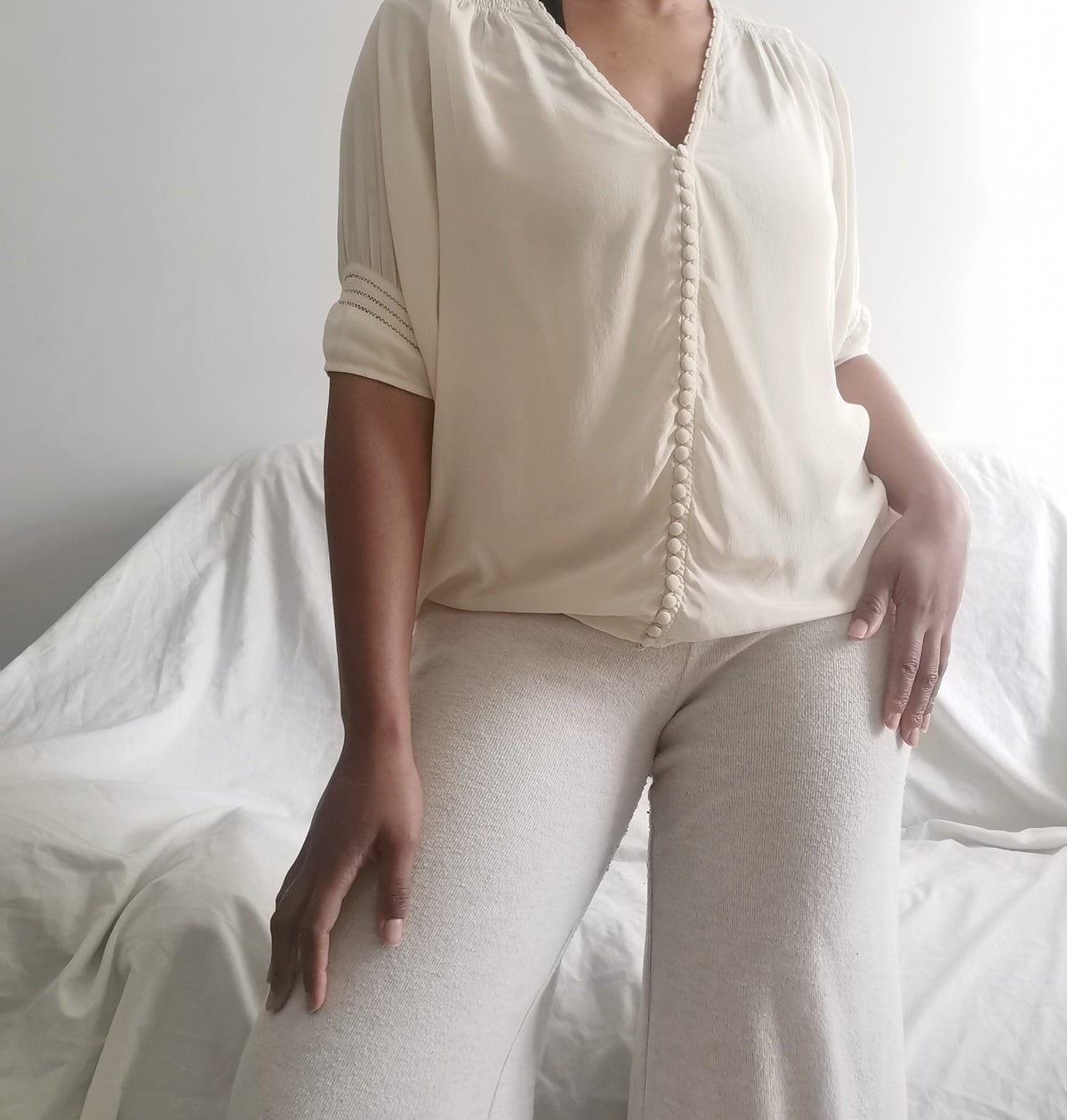 Image of batwing button blouse