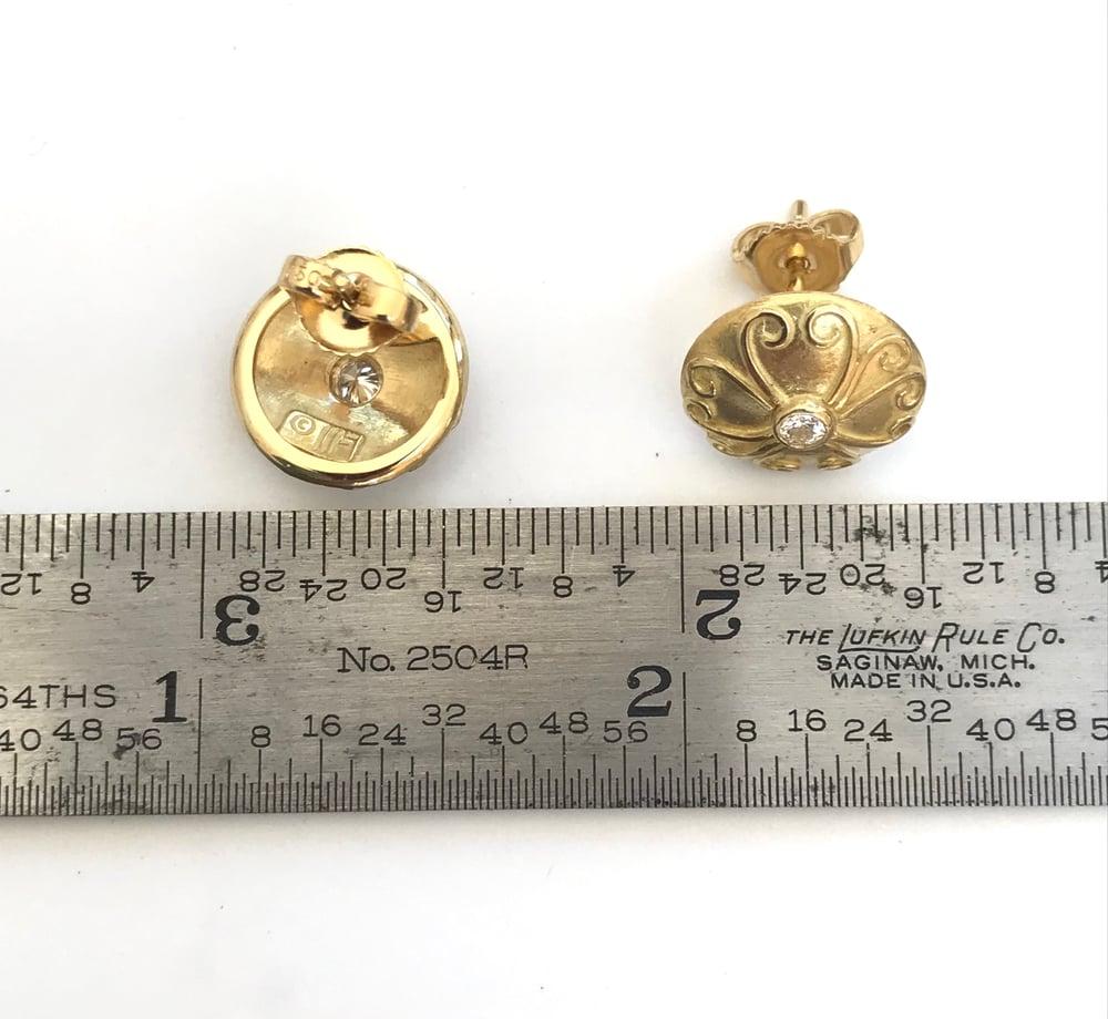Image of Diamond Ancient Disc Earrings 18k